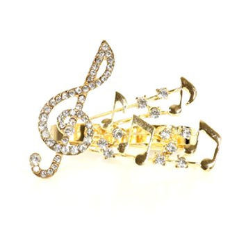 Musical Notes Double Ring Crystal Treble Clef Vintage Gold Tone RJ30 Music Statement Fashion Jewelry