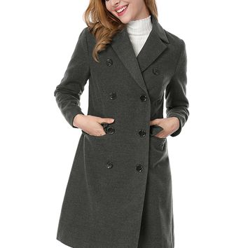 Women's Notched Lapel Double Breasted Trench Coat