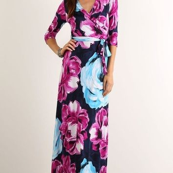 """Creme de la Creme"" Big Blooms Floral Wrap Maxi Dress - FINAL SALE"