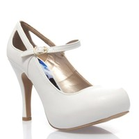 V-Luxury Womens 10-TRENCH134 Closed Toe Mary Jane High Heel Pump Shoes, White PU Leather, 6 B (M) US