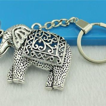 CREYIJ6 WYSIWYG Men Jewelry Key Chain, New Fashion Metal Key Chains Accessory, Vintage Elephant charm Key Rings