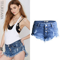 Denim Low Waist Pants Summer Ripped Holes Irregular Tassels Shorts [11597534671]