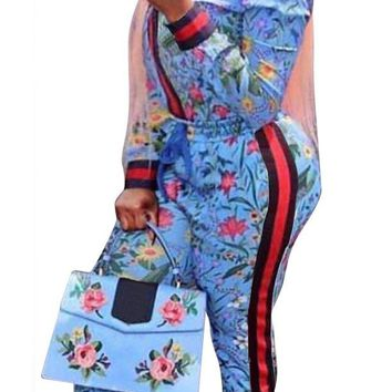 Floral Print African Casual Jumpsuit Two Piece Set