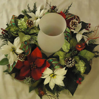 "Christmas Wreath Centerpiece- ""Holiday Wishes"", Floral Wreath, Home Decor, Christmas Floral, Wreath Decor, Christmas Floral, Winter Floral"