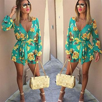 New Fashion Women Floral Printing  Jumpsuits Ladies V Neck Long Sleeve Clubwear Playsuit Summer Casual Jumpsuit Romper