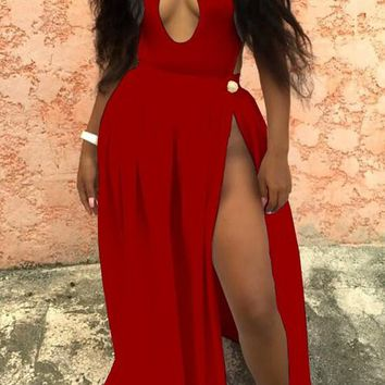 Red Cut Out Draped Tie Back Backless Halter Neck Clubwear Maxi Dress