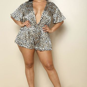 Leopard Print Taupe Deep V Silky Plus Size Romper