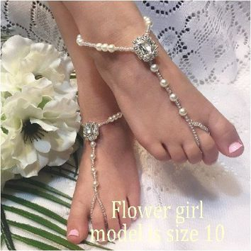CRYSTAL flower girl barefoot sandals - clear