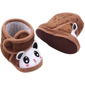 Newborn Baby Boots Boy Girl Warm Anti-slip Panda Soft Sole Slipper Shoes 0-12 M