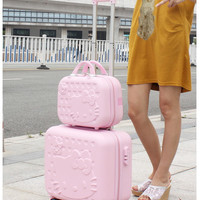 18 Inches Hello Kitty lady luggage suitcase trolley travel bag bag trolley wheels wheels travel abs luggage