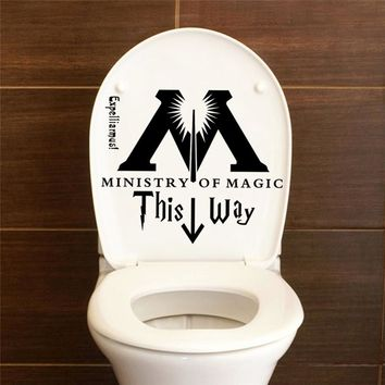 Harry Potter Ministry Of Magic This Way Bathroom Toilet Seat Vinyl Wall Sticker Home Decor Decal DIY Funny Joke Quotes Art