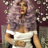Purple Long Swiss Lace Front Wig 18"