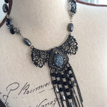 Gothic Cameo and Chain Metal Lace Bib Necklace