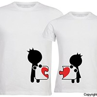 """BOLDLOFT®""""Complete My Heart"""" His and Hers Matching Couple Shirts,Him & Her Gift"""