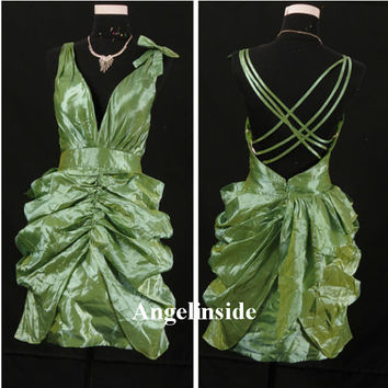 Sexy Prom Dress, Plunging Neckline Prom Dress, Criss-cross Back Prom Dress, Green Prom Dress, Mini Prom Dress / Cocktail Dress