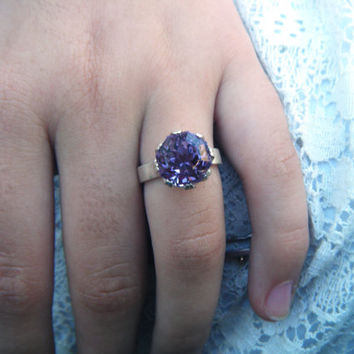 Enormous natural amethyst gemstone ring, hand facetted by the jeweler, unusual octagon cut, handmade sterling silver coronet setting