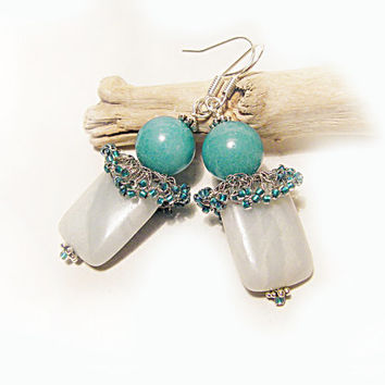 Amazonite earrings Sky Blue Pale Blue Dark Aquamarine Teal Turquoise Crochet wire jewelry