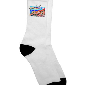 Colorado Mtn Sunset Bold WaterColor Adult Crew Socks