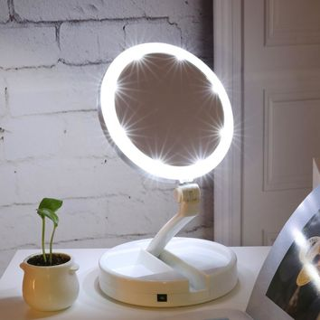 Double-sided Rotation Folding USB LEDs Lighted Makeup Mirror