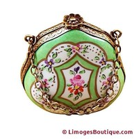 HANDBAG GREEN FLORAL LIMOGES BOX