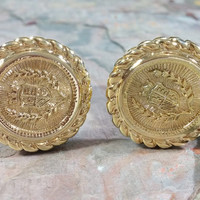 Vintage Crest Clip On Earrings Gold Coin Style with Crest Emblem in Round Rope Edge Style Bezel Setting Big Clip On Style Earrings 1980's