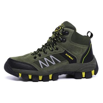 Autumn Winter Hiking Climbing Shoes Professional High Top Hiking Boots Lace Up Outdoor Mountain Climbing Sports Sneakers Warm