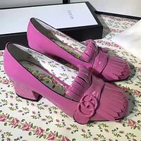 GUCCI Women Fashion Leather Thick Heel Heels Shoes