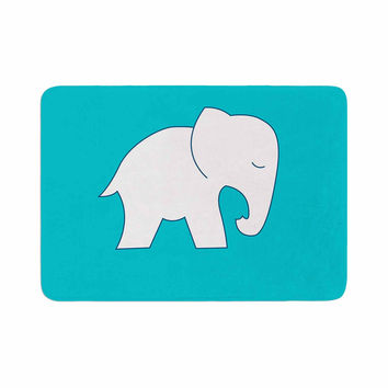 "NL Designs ""Cute Blue White Elephant"" Animals Blue Memory Foam Bath Mat"