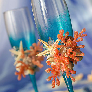 Beach Wedding Glasses, Coral and Turquoise, Bride and Groom, Sea Wedding Toasting Flutes, Starfish, Seashells, Corral 2pcs /G3/16/20/24-0001