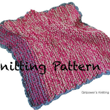 Quick Knit Baby Blanket PDF Knitting Pattern, Worsted Yarn, Multiple Sizes