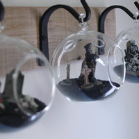 Glass Globe Wall Decor mounted to recycled wood board with wrought iron hooks for  unique home decor