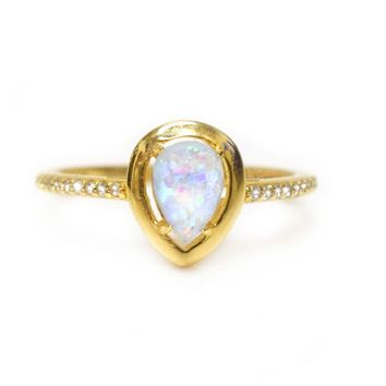 Blue Opal + Diamond Mermaid Ring
