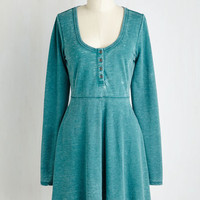 Short Length Long Sleeve A-line On a Grinning Streak Dress in Teal