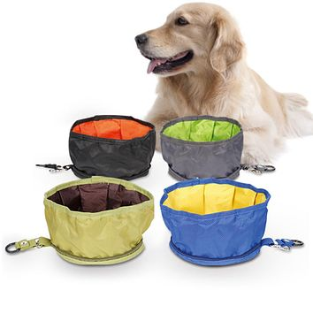 Portable Foldable Waterproof Outdoor Pet Food Feeding Watering Outdoor Dog Bowl