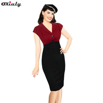 Oxiuly Dropshipping Womens Summer Vintage Pinup Retro Polka Dot Floral Print Colorblock Tunic Party Pencil Sheath Bodycon Dress