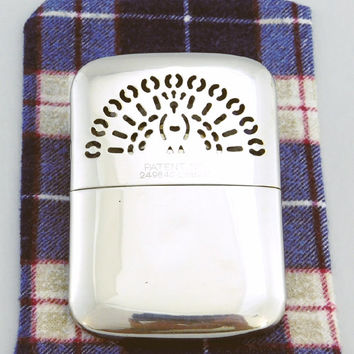 Vintage 1950s Hand Warmer / 50s Chrome Pocket Warmer / Stainless Steel Peacock Handwarmer / Occupied Japan / Flannel Case