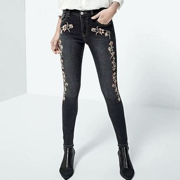 Embroidery Skinny Jeans Pant Women High Waist Stretchy Denim Jean Fashion Zipper Streetwear Long Pencil Jeans