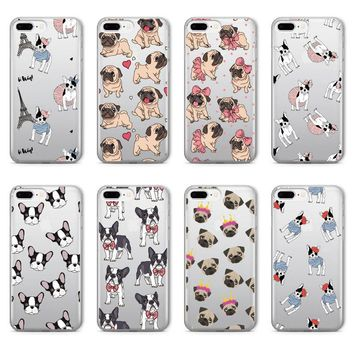 Pug Bunny French  Bulldog Soft Clear Case For iPhone X/8/8Plus/7/7Plus/6/6S/6Plus/5/5S/SE
