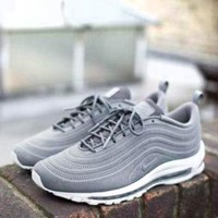 NIKE AIR MAX 97 Fashion Women Men Casual Running Sport Shoes Sneakers Grey