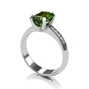 Peridot ring, white gold, diamond ring, emerald cut, engagement ring, green, peridot engagement, solitaire, gold engagement, traditional