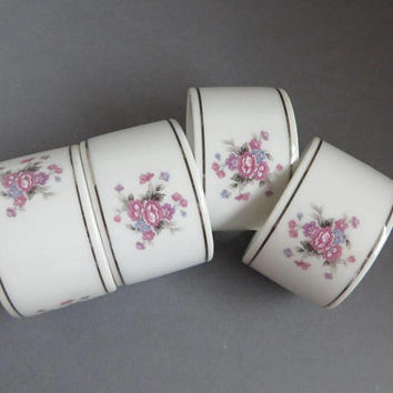 Japan Porcelain Napkin Rings, Vintage 1970s Table Decor, Housewares, Christmas Gift