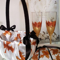 Hand painted champagne color flower girl basket Autumn wedding maple leaves in gold, copper and brown Wedding favor