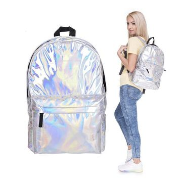 Stylish Backpack Women Silver Hologram Laser Backpack Men's Bag Leather Holographic Multicolor Geometric Backpack