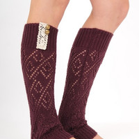 Crochet Leg Warmer - Burgandy