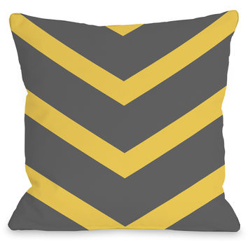 """Isabella Chevron"" Indoor Throw Pillow by OneBellaCasa, Yellow/Gray, 16""x16"""