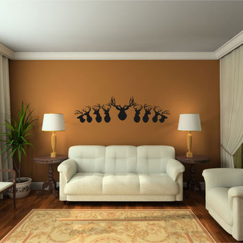Deer Heads and Antlers Silhouette Vinyl Wall Decal Sticker Graphic