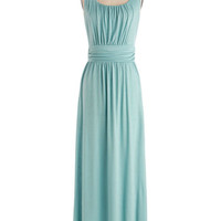 ModCloth Pastel Long Sleeveless Maxi Near Mist Dress