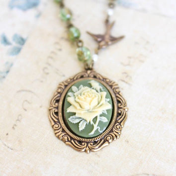 Cameo Necklace, Ivory Rose Pendant, Rose Necklace, Bird Charm, Green Glass Beaded, Vintage Style Jewelry