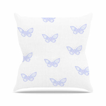 "Jennifer Rizzo ""Many Lavender Butterflies "" Purple White Throw Pillow"