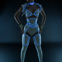 XS/S White PVC with luminescent icy blue glowing trim thigh corsets from Artifice (production sample)